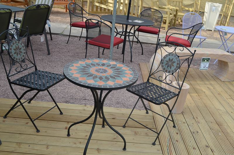 Sun Time Cairo Mosaic Table Bistro Set Greenacres Garden