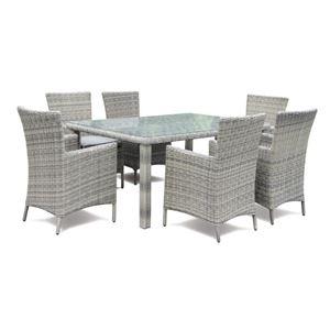 Picture Of Sandringham 6 Seat Dining Set   Grey Rattan